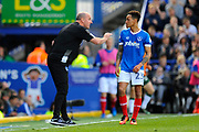 Portsmouth manager Paul Cook talks to Kyle Bennett (23) of Portsmouth during the EFL Sky Bet League 2 match between Portsmouth and Plymouth Argyle at Fratton Park, Portsmouth, England on 14 April 2017. Photo by Graham Hunt.