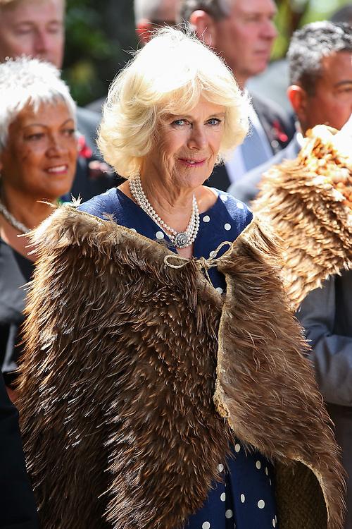 Camilla, Duchess of Cornwall, arrives dressed in a Korowai, traditional Maori woven cloak, during a visit to Turangawaewae Marae, Hamilton, New Zealand, Sunday, November 08, 2015. Credit:SNPA / Getty, Hagen Hopkins **POOL**