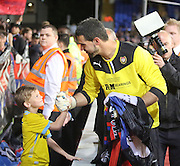 Julian Speroni and young Crystal Palace fan - Crystal Palace v Dundee - Julian Speroni testimonial match at Selhurst Park<br /> <br />  - © David Young - www.davidyoungphoto.co.uk - email: davidyoungphoto@gmail.com