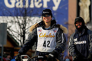 04 March 2006: Anchorage, Alaska - Rachel Scdoris during the Ceremonial Start in downtown Anchorage of the 2006 Iditarod Sled Dog Race.