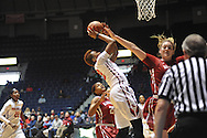 """Mississippi Lady Rebels forward Tia Faleru (32) shoots against Alabama Crimson Tide forward Nikki Hegstetter (13) at the C.M. """"Tad"""" Smith Coliseum in Oxford, Miss. on Sunday, January 11, 2015. (AP Photo/Oxford Eagle, Bruce Newman)"""