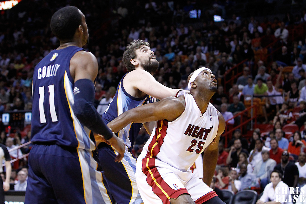 12 March 2011: Miami Heat center Erick Dampier (25) vies for the rebound with Memphis Grizzlies center Marc Gasol (33) during the Miami Heat 118-85 victory over the Memphis Grizzlies at the AmericanAirlines Arena, Miami, Florida, USA. **