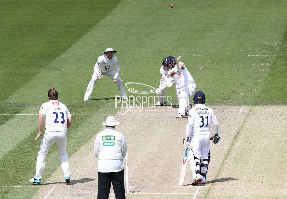 Chris Nash smashed out of the ground by Gareth Berg during the LV County Championship Div 1 match between Sussex County Cricket Club and Hampshire County Cricket Club at the BrightonandHoveJobs.com County Ground, Hove, United Kingdom on 8 June 2015.