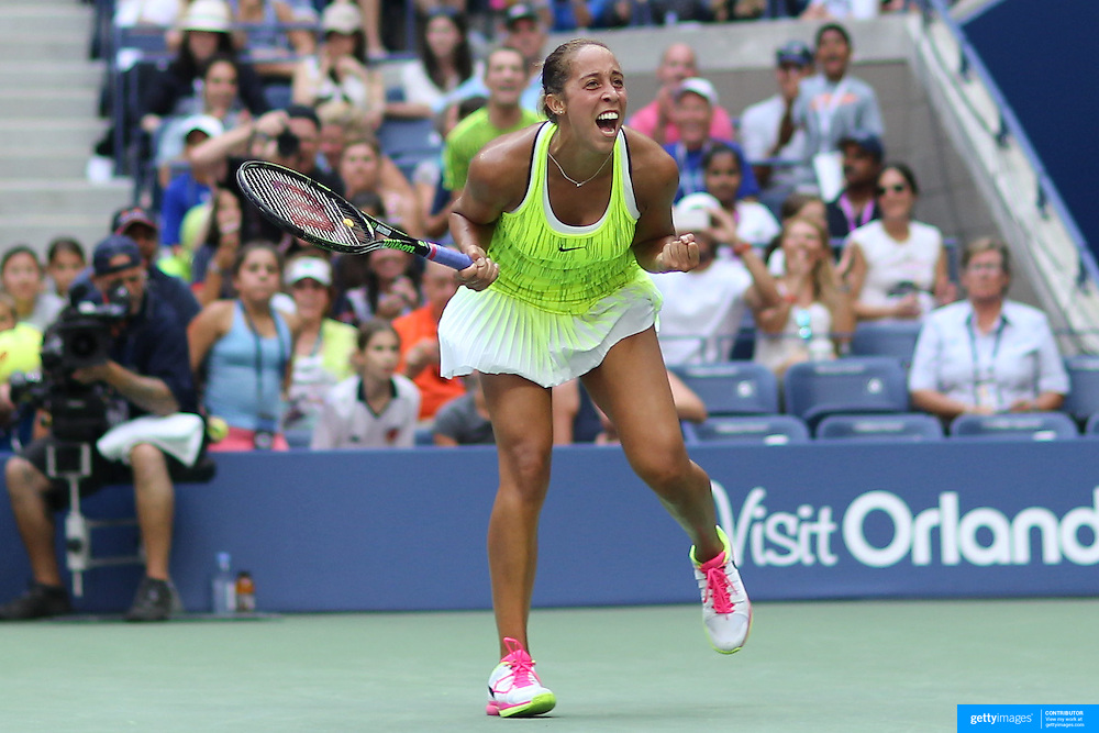 2016 U.S. Open - Day 5   Madison Keys  of the United States celebrates victory against Naomi Osaka of Japan in the Women's Singles round three match on Arthur Ashe Stadium on day five of the 2016 US Open Tennis Tournament at the USTA Billie Jean King National Tennis Center on September 2, 2016 in Flushing, Queens, New York City.  (Photo by Tim Clayton/Corbis via Getty Images)