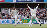 New Zealand Tim Southee celebrates the wicket of England debutant Adam Lyth during the first day of the Investec 1st Test  match between England and New Zealand at Lord's Cricket Ground, St John's Wood, United Kingdom on 21 May 2015. Photo by Ellie  Hoad.