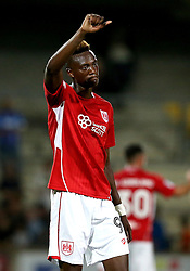 Tammy Abraham of Bristol City gives a thumbs up to the fans after scoring the winning goal against Scunthorpe United - Mandatory by-line: Robbie Stephenson/JMP - 23/08/2016 - FOOTBALL - Glanford Park - Scunthorpe, England - Scunthorpe United v Bristol City - EFL Cup second round