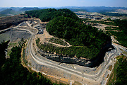 Mountain top removal from the Highland Massey Energy Coal mines in Blair County, West Virginia.