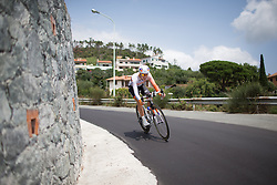 Thalita de Jong (NED) of Rabo-Liv Cycling Team leans into a fast corner during the Giro Rosa 2016 - Stage 7. A 21.9 km individual time trial from Albisola to Varazze, Italy on July 8th 2016.