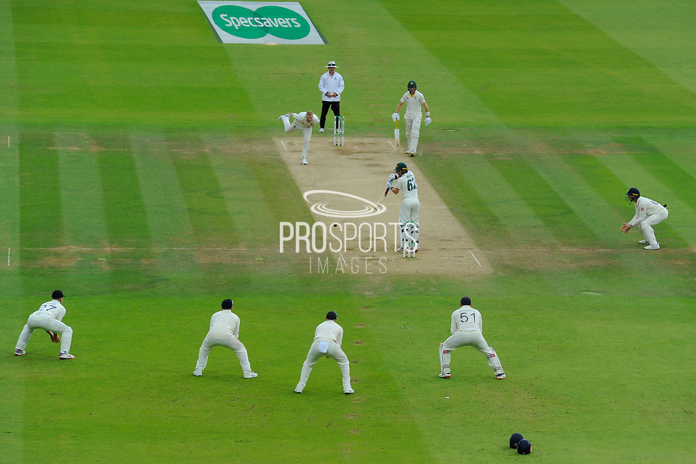 Travis Head of Australia edges the ball off the bowling of Ben Stokes of England and is dropped by Jason Roy of England in the slips during the International Test Match 2019 match between England and Australia at Lord's Cricket Ground, St John's Wood, United Kingdom on 18 August 2019.