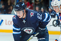 PENTICTON, CANADA - SEPTEMBER 9: Mason Appleton #82 of Winnipeg Jets faces off against the Edmonton Oilers on September 9, 2017 at the South Okanagan Event Centre in Penticton, British Columbia, Canada.  (Photo by Marissa Baecker/Shoot the Breeze)  *** Local Caption ***