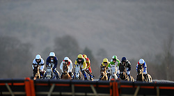 Racers make the way towards the last jump during the South West Racing Club Handicap Hurdle (Class 5) (4YO plus)  - Photo mandatory by-line: Harry Trump/JMP - Mobile: 07966 386802 - 17/02/15 - SPORT - Equestrian - Horse Racing - Taunton Racecourse, Somerset, England.