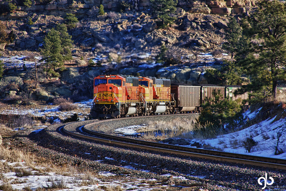 Northbound train into Billings, Montana