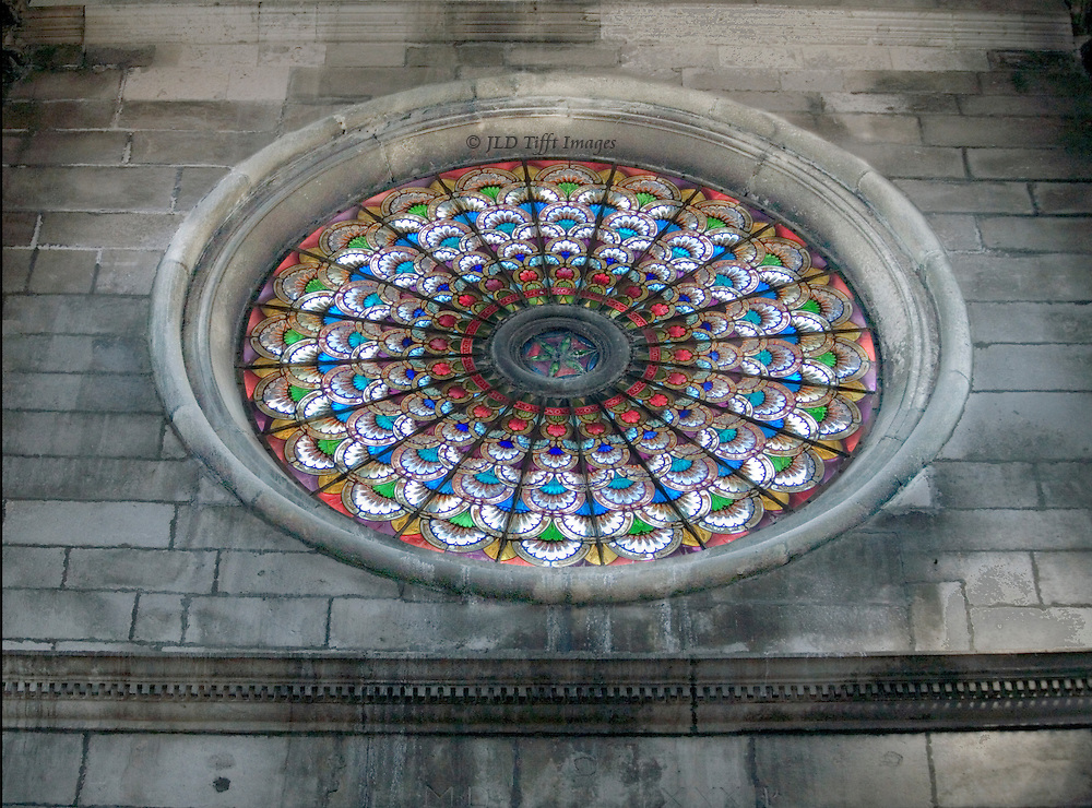 Sibenik, Cathedral of St. James, built 1431-1535.  Architects Juraj (George) of Dalmatia and Niccolo of Florence.  Rose window from the inside.