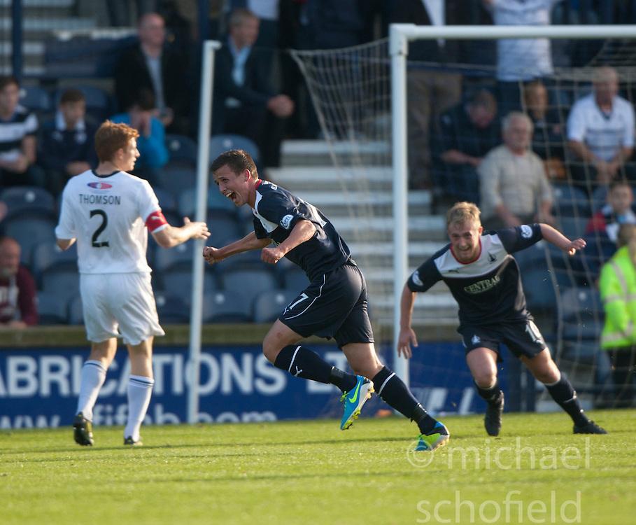 Falkirk's Kris Faulds (17) cele scoring their goal. Raith Rovers 1 v 1 Falkirk, Scottish Championship 28/9/2013.<br /> &copy;Michael Schofield.