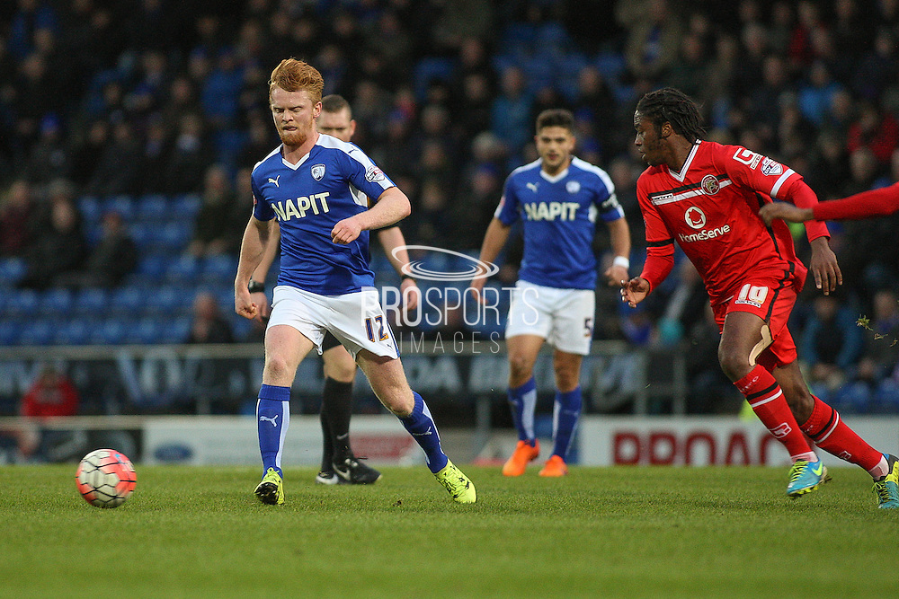 Chesterfield FC defender Liam O'Neil wins the ball in midfield during the The FA Cup match between Chesterfield and Walsall at the Proact stadium, Chesterfield, England on 5 December 2015. Photo by Aaron Lupton.
