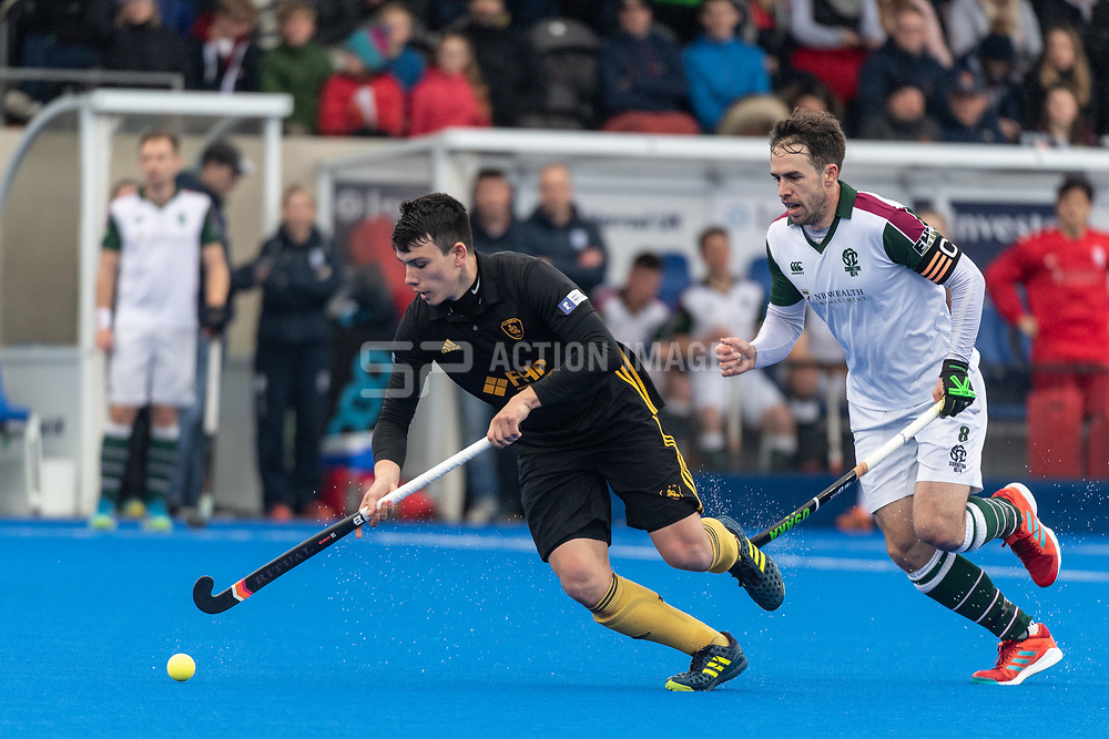 Beeston's Lucas Alcalde. Surbiton v Beeston - Men's Hockey League Finals, Lee Valley Hockey & Tennis Centre, London, UK on 28 April 2018. Photo: Simon Parker