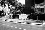It was daubed smeared the future plaque commemorating the killing of Aldo Moro's bodyguards in Via Mario Fani. Roma 21 febraury 2018. Christian Mantuano / OneShot