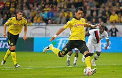04.08.2010, Signal Iduna Park, Dortmund, GER, Freundschaftsspiel, Borrussia Dortmund vs Manchester City, im Bild: 11 Meter von Lucas Barrios (Dortmund ARG/PAR #18),  links ist Sebastian Kehl (Dortmund GER #5), EXPA Pictures © 2010, PhotoCredit: EXPA/ nph/  Scholz *** Local Caption ***+++++ ATTENTION - OUT OF GER +++++ / SPORTIDA PHOTO AGENCY