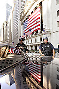 New York, NY, USA, August 2nd 2004: The New York Stock Exchange (NYSE) heightened their state of alert after the Deartment of Homeland Security warned about spesific terror threats against financial institutions in New York, New Jersey and Washington DC.<br /> <br /> Photo: Orjan F. Ellingvag  *** Local Caption ***