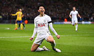 Son Heung-Min of Tottenham  celebrates scoring during the UEFA Champions League match between Tottenham Hotspur and Juventus at Wembley Stadium in London. 07 Mar 2018