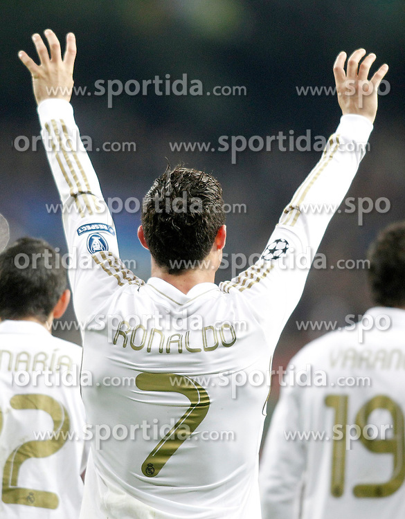 04.04.2012, Estadio Santiago Bernabeu, Madrid, ESP, UEFA CL, Viertelfinal-Rueckspiel, Real Madrid (ESP) vs APOEL Nikosia (CYP), im Bild Real Madrid's Cristiano Ronaldo celebrates // during the UEFA Championsleague Quaterfinal 2nd Leg Match, between Real Madrid (ESP) and APOEL Nikosia (CYP), at the Estadio Santiago Bernabeu, Madrid, Spain on 2012/04/04. EXPA Pictures © 2012, PhotoCredit: EXPA/ Alterphotos/ Alvaro Hernandez..***** ATTENTION - OUT OF ESP and SUI *****