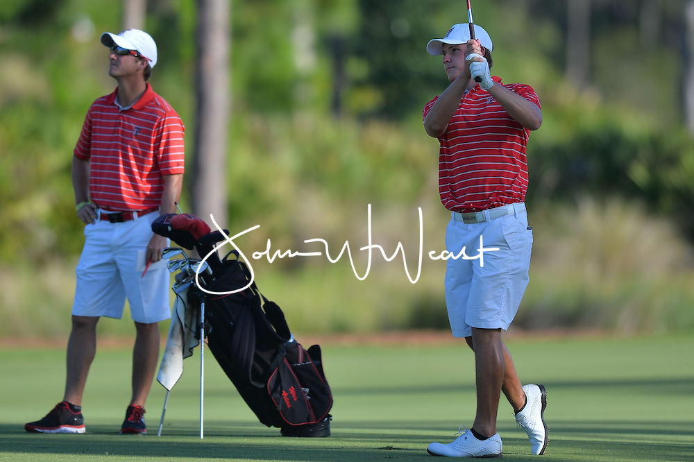 Wes Artac with head coach Greg Sands during  the second round of the NCAA Golf Championships at the Concession Golf Club in Bradenton, FL.