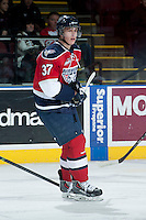 KELOWNA, CANADA -FEBRUARY 19: Parker Wotherspoon #37 of the Tri City Americans skates against the Kelowna Rockets on February 19, 2014 at Prospera Place in Kelowna, British Columbia, Canada.   (Photo by Marissa Baecker/Getty Images)  *** Local Caption *** Parker Wotherspoon;