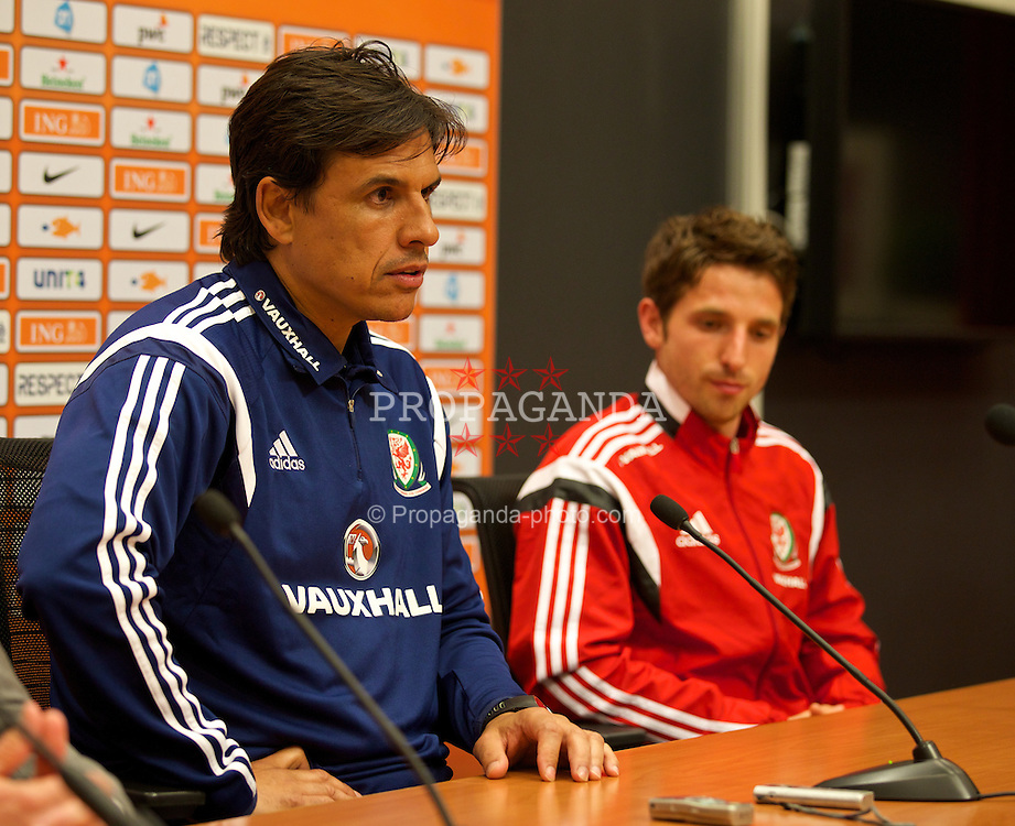 AMSTERDAM, NETHERLANDS - Tuesday, June 3, 2014: Wales' xxxx during a press conference at the Amsterdam Arena ahead of the International Friendly match against the Netherlands. (Pic by David Rawcliffe/Propaganda)