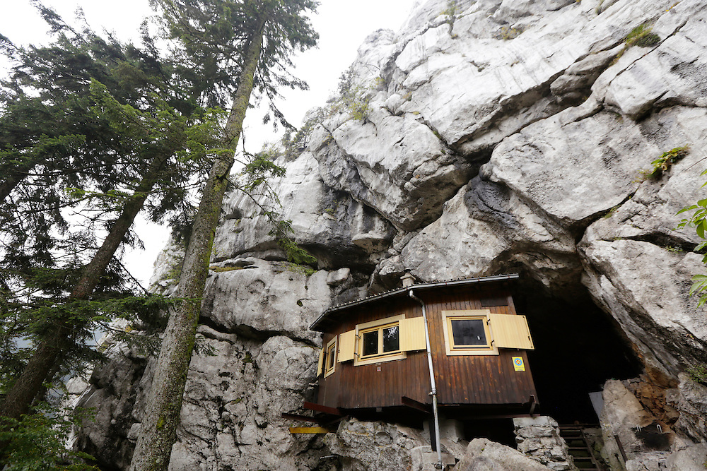 Ratko's shelter, situated below Samarske Stijene (Samar cliffs), Velika Kapela mountain region, Croatia.