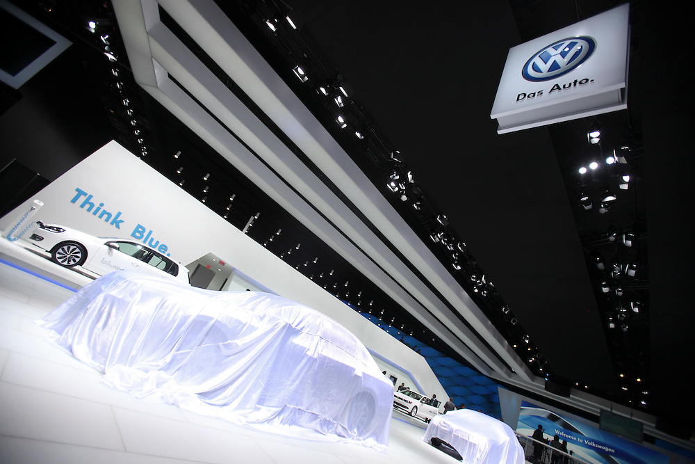 GR --- Detroit, Michigan ---11-01-10--- A new vehicle waits to be unveiled at the Volkswagen display on the first day of the press preview at the North American International Auto Show in Detroit, Michigan, January 10, 2011 .<br /> Geoff Robins AFP