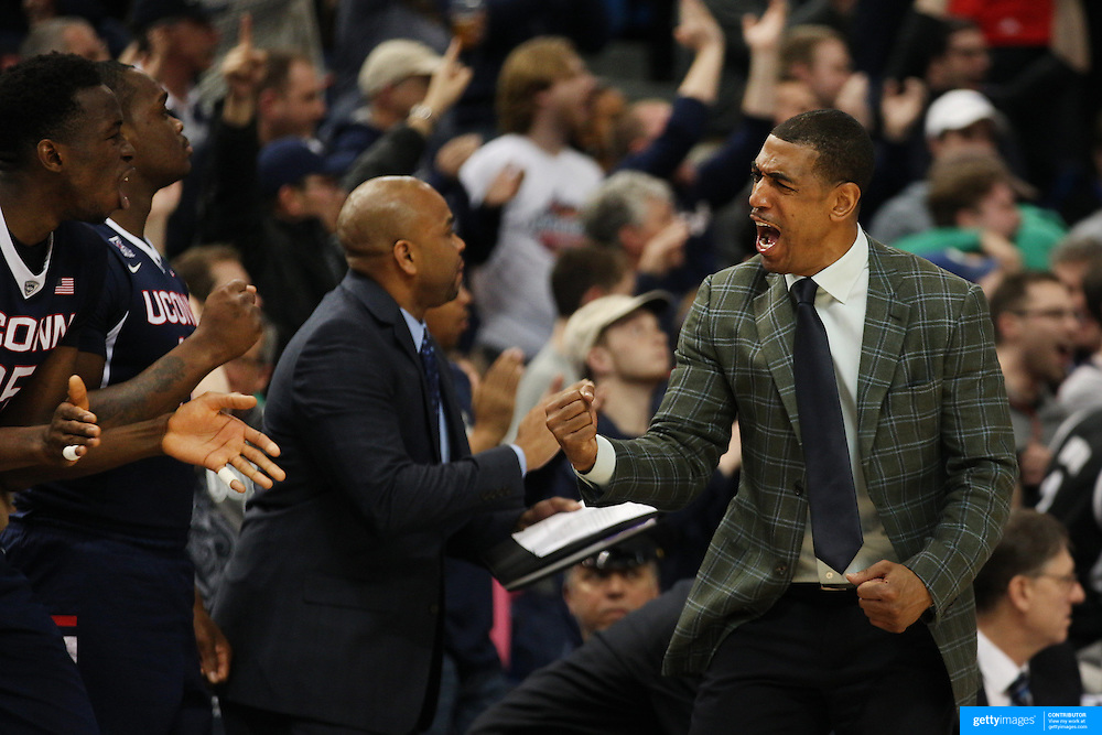 Coach Kevin Ollie, UConn, in action on the sideline during the UConn Huskies Vs Tulsa Semi Final game at the American Athletic Conference Men's College Basketball Championships 2015 at the XL Center, Hartford, Connecticut, USA. 14th March 2015. Photo Tim Clayton