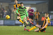 Cambridge United's Harry Darling(25) beats Forest Green Rovers Christian Doidge(9) to the ball during the EFL Sky Bet League 2 match between Forest Green Rovers and Cambridge United at the New Lawn, Forest Green, United Kingdom on 20 January 2018. Photo by Shane Healey.