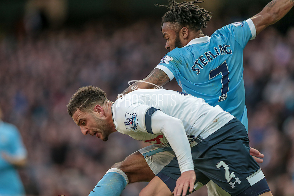 Kyle Walker (Tottenham Hotspur) and Raheem Sterling (Manchester City) during the Barclays Premier League match between Manchester City and Tottenham Hotspur at the Etihad Stadium, Manchester, England on 14 February 2016. Photo by Mark P Doherty.
