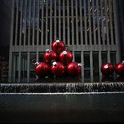 Christmas decorations on 6th Avenue, Manhattan, New York USA. Photo Tim Clayton