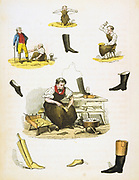 Shoemaker and shoemaking. From Reuben Rambles 'The Child's Treasury of Knowledge and Amusement', London, c1845.