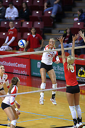 09 October 2009: Mallory Leggett strikes the ball towards Megan Schmidt. The Redbirds of Illinois State defeated the Braves of Bradley in 3 sets during play in the Redbird Classic on Doug Collins Court inside Redbird Arena in Normal Illinois