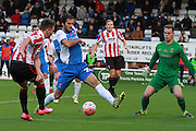 Billy Waters forces a save from Trevor Carson during the The FA Cup match between Hartlepool United and Cheltenham Town at Victoria Park, Hartlepool, England on 7 November 2015. Photo by Antony Thompson.