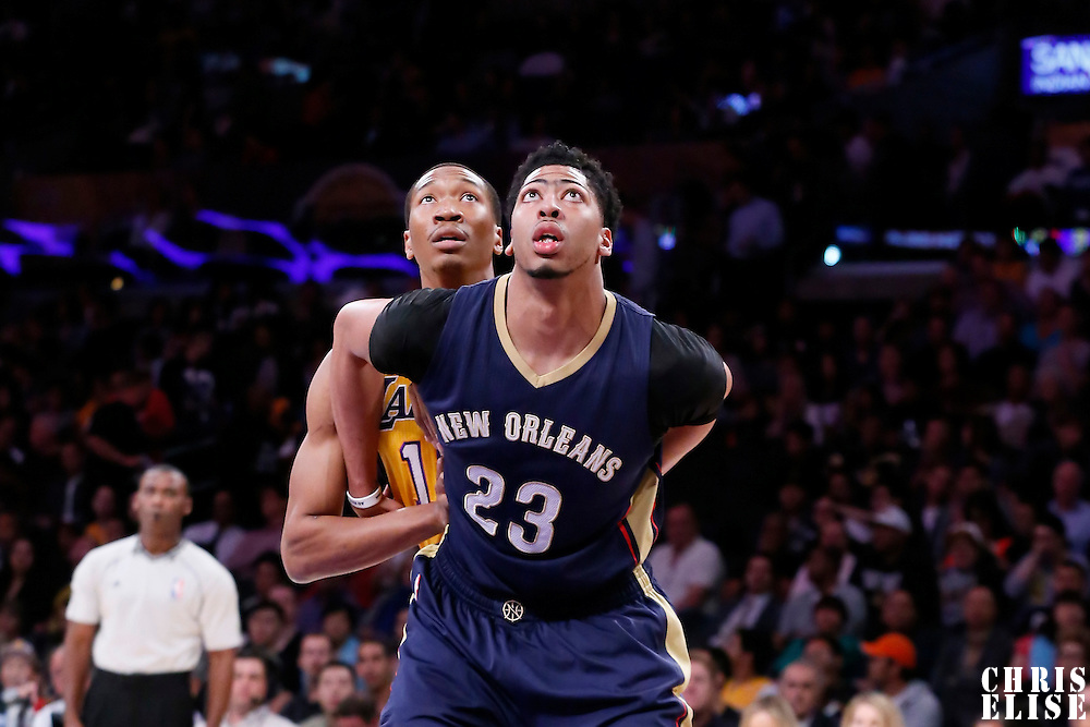 01 April 2015: New Orleans Pelicans forward Anthony Davis (23) vies for the rebound with Los Angeles Lakers forward Wesley Johnson (11) during the New Orleans Pelicans 113-92 victory over the Los Angeles Lakers , at the Staples Center, Los Angeles, California, USA.