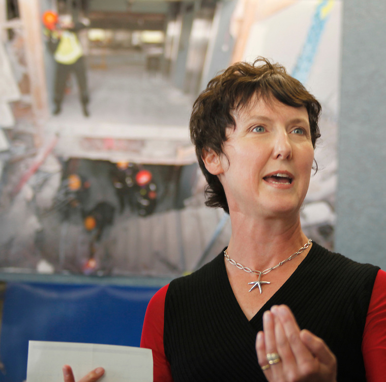 Beatrice Cheer from the Family Help Trust, with a $100,000 cheque for royalties from the Police forensic photographers book Christchurch 22.2 - Beyond the Cordon, Christchurch, New Zealand, Wednesday, December 07, 2011.  Credit:SNPA / Pam Johnson