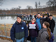 08 DECEMBER 2019 - CORALVILLE, IOWA: The front of the line on a walkway built over a wetland area in Corralville, Iowa, to hear Mayor Pete Buttigied speak Sunday. Hundreds of came to Buttigieg's campaign event. Buttigieg, the mayor of South Bend, Indiana, is running to be the Democratic nominee for President in the 2020 election. Iowa traditionally holds the first presidential selection event of the 2020 election cycle. The Iowa Caucuses are on Feb. 3, 2020.  PHOTO BY JACK KURTZ