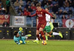 December 26, 2018 - Rome, Italy - Patrik Schick kicks goal 2-0 during the Italian Serie A football match between A.S. Roma and Sassuolo at the Olympic Stadium in Rome, on december 26, 2018. (Credit Image: © Silvia Lore/NurPhoto via ZUMA Press)