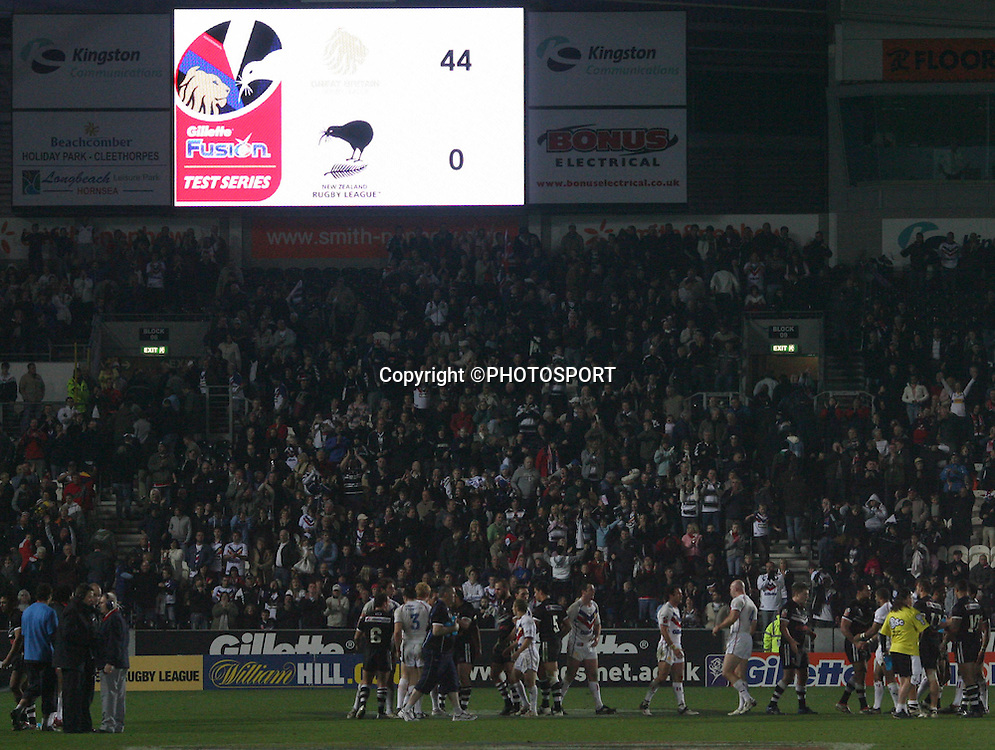 The two sets of players shake hands under the scoreboard at the final whistle. New Zealand Kiwis v Great Britain. International rugby league match. KC Stadium, Hull, England. Saturday 3 November 2007. Photo: Mathew Impey/PHOTOSPORT