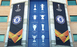 Close up of the Europa League signage outside the ground before the game