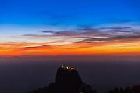 sunset over high sacred place of Mount Popa Myanmar (Burma)