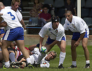 © Peter Spurrier / Intersport images.email images@intersport-images.com.21/6/03 Photo Peter Spurrier.Imber Court - Esher - Surrey.IRB U21 Rugby World Cup - Iffley Road - Oxford .Italy v Japan.Prop Franco Sbaragliui, acting as scrum half