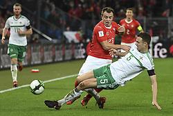 November 12, 2017 - Basel, 12.11.2017, Fussball WM Qualifikation Playoff, Schweiz - Nordirland, Xherdan Shaqiri (SUI) wird von Jonny Evans (NIR) gestoppt  (Credit Image: © Daniel Christen/EQ Images via ZUMA Press)