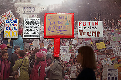 "© Licensed to London News Pictures. 27/03/2018. LONDON, UK. Placards from ""Women's March"", US and London, 2017.  Preview of ""Hope to Nope: Graphics and Politics 2008-18"", an exhibition examining the political graphic design of a turbulent decade encompassing the 2008 financial crash, Barack Obam presidency, Brexit and Donald Trump's presidency.  The exhibition takes place at the Design Museum 28 March to 12 August 2018.  Photo credit: Stephen Chung/LNP"