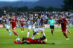 West Brom's Nacer Chadli is tackled - Mandatory by-line: Matt McNulty/JMP - 22/08/2017 - FOOTBALL - Wham Stadium - Accrington, England - Accrington Stanley v West Bromwich Albion - Carabao Cup - Second Round