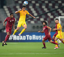 Xiao Zhi of China (C)  heads the ball while being challenged by Almahdi Ali Mukhtar of Qatar (2-L) during their 2018 FIFA World Cup Russia Qualification soccer match at the Khalifa International Stadium in the Qatari capital Doha on September 05, 2017. XXXX defeated XXXX XXXX (Xinhua / Nikku (Credit Image: © Nikku/Xinhua via ZUMA Wire)