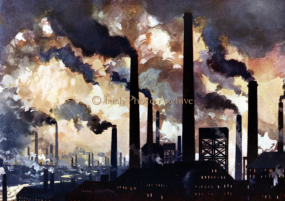 Industrialisation c1925. Factory chimneys pouring out polluted smoke - Sheffield. Illustration.